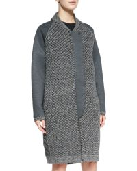 O'2nd - Mixed-Knit Front-Zip Overcoat - Lyst