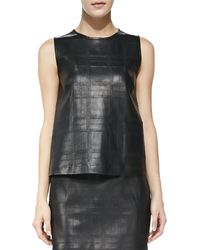 Theory Emlay Plaid Leathercashmere Top - Lyst