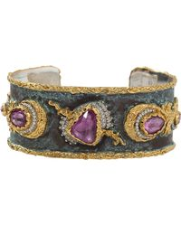 Victor Velyan - Pink Sapphire And Green Patina Cuff - Lyst