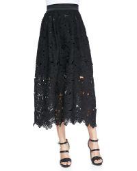 Carmen Marc Valvo - Lace Cutout Midi Party Skirt - Lyst