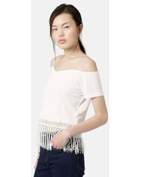 Topshop Cold Shoulder Tassel Trim Top beige - Lyst