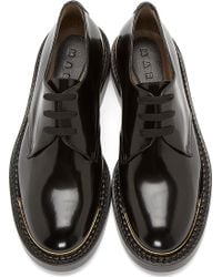 Marni Black Polished Leather Gold Toecap Derby Shoes - Lyst