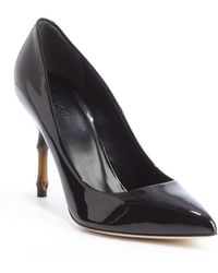 Gucci Black Patent Leather 'Kristen' Bamboo Heel Pumps - Lyst