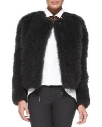 Brunello Cucinelli Goat Fur Snap-Front Jacket - Lyst