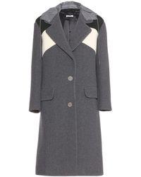 Miu Miu Gray Wool Coat - Lyst