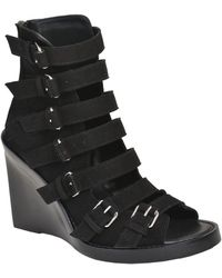 Ann Demeulemeester Multi Buckle Suede Wedge Sandals - Lyst
