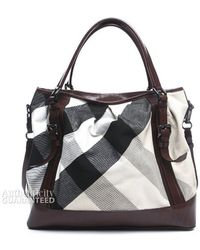 Burberry Pre-Owned Mega Check Canvas Lowry Bag - Lyst