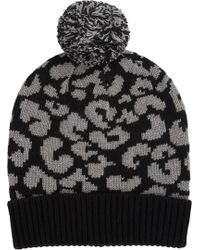 Barneys New York Leopard-Pattern Intarsia-Knit Beanie black - Lyst