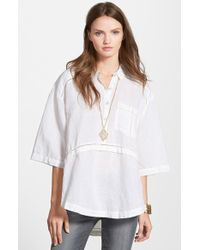 Free People 'Weekend Escape' High/Low Shirt silver - Lyst