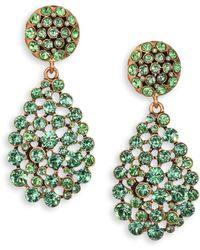 Oscar de la Renta Swarovski Crystal Teardrop Earrings - Lyst