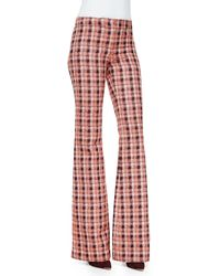 Derek Lam Novelty Plaid Flare Trousers - Lyst