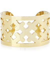 Katie Design Jewelry - Wide Gold-plated Cross Cuff - Lyst
