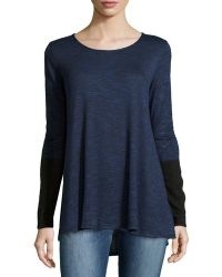 Max Studio Round-neck Pullover W Colorblocked Sleeves - Lyst