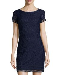 Laundry by Shelli Segal Floral-Lace Short-Sleeve Dress - Lyst
