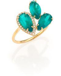 KALAN by Suzanne Kalan - Soleil Green Onyx, Diamond & 14k Yellow Gold Cluster Ring - Lyst