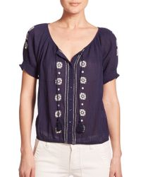 Joie Dolina Embroidered Peasant Top blue - Lyst