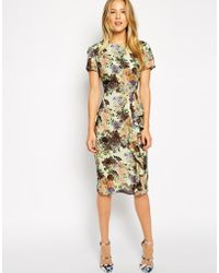 Asos Pencil Dress With Waterfall Detail In Pretty Digital Floral - Lyst