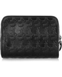 Karl Lagerfeld Kache Embossed Leather Cosmetics Case - Lyst
