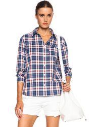A.P.C. Jour Plaid Button Down Cotton Shirt - Lyst