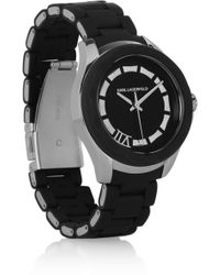 Karl Lagerfeld Klassic Seven Stainless Steel and Silicone Watch - Lyst