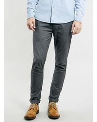 Topman Grey Check Vintage Skinny Chinos - Lyst