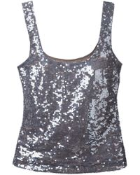 P.A.R.O.S.H. Sequin Embellished Tank Top - Lyst