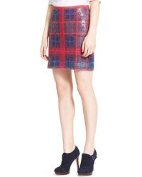 Tommy Hilfiger Plaid Sequin Skirt - Lyst