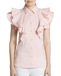 RED Valentino Tiered Ruffle Cap Sleeve Blouse - Lyst
