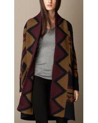 Burberry Geometric Intarsia Wool Cardigan Coat - Lyst
