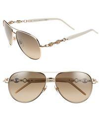 Gucci 'Marina Chain' 58Mm Aviator Sunglasses white - Lyst