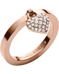 Michael Kors Rose Golden Pave Puffy Heart Charm Ring - Lyst