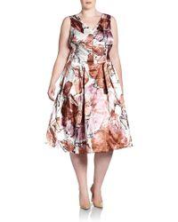 Melissa Masse, Sizes 14-24 Satin V-Neck Dress - Lyst