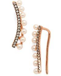 Galleria Armadoro - Crystal & Pearl Ear Crawlers - Lyst
