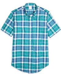 Brooks Brothers Madison Fit Madras Short-Sleeve Sport Shirt - Lyst