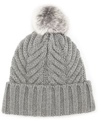 Neiman Marcus - Cable Knit Fur-pompom Beanie - Lyst