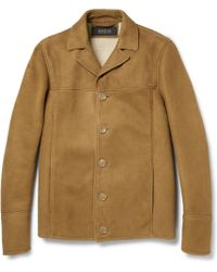 Gucci Brown Shearling Coat - Lyst