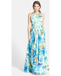 Eliza J Embellished Floral Print Chiffon Gown - Lyst
