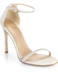 Stuart Weitzman Nudistsong Python-Embossed Leather Sandals - Lyst
