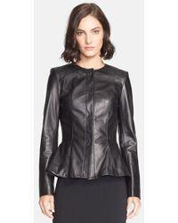 St. John Nappa Leather Peplum Jacket - Lyst