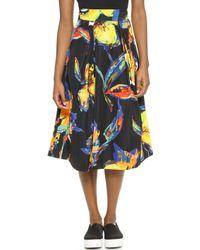 Milly Pop Art Floral Lana Skirt - Black - Lyst
