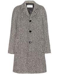 Saint Laurent Black Tweed Coat - Lyst