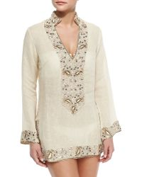 Florabella - Viceroy Beaded Linen Short Coverup - Lyst