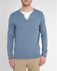 Harris Wilson Stormy-Grey Takis Contrasting Granddad Collar Sweater gray - Lyst