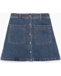 Zara Denim Skirt With Pockets - Lyst