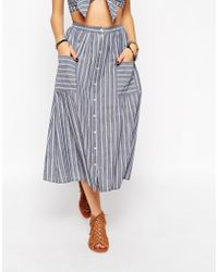 Asos Co-Ord Midi Skirt With Button Through In Stripe blue - Lyst