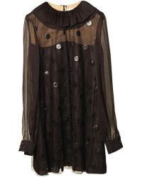 Saint Laurent Lacquered-Disc Chiffon Dress - Lyst