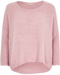 River Island Pink Boucle Knit Jumper - Lyst