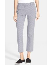 Theory 'Izelle S' Check Crop Pants - Lyst