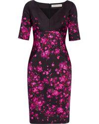 Lela Rose Floral-Print Stretch-Cotton Dress - Lyst