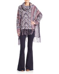 Free People | Fringed Printed Poncho | Lyst